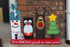Holzarbeiten mit Kindern -ideen-weihnachten-holzlatten-bemalen-gartendeko