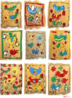Amate Bark Paintings used by the Otomi Indians of San Pablito, Mexico.