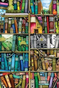 Reading Art - Inspiration for book lovers and book worms. Illustration Art, Illustrations, Art Graphique, Book Nooks, I Love Books, Oeuvre D'art, Bookshelves, Bookshelf Wall, Book Lovers