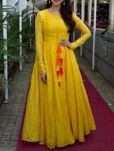 fency and uniqae yellow gown with full sleeve buy online shopping at dwe will fashion Indian Designer Outfits, Indian Outfits, Designer Dresses, Indian Gowns Dresses, Pakistani Dresses, Bollywood Dress, Bollywood Fashion, Frock For Women, Salwar Designs