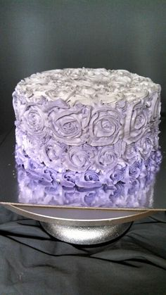 Purple Ombre rosette birthday cake created by Alicia @ Phat N Sassy Sweets
