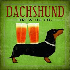 "Printfinders ""Dachshund Brewing Co."" by Ryan Fowler Graphic Art on Canvas Size: 24"" H x 24"" W"