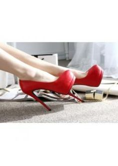 USD$17.36 Wholesale Fashion sweet thin heel hight shoes  red  at martofchina.com