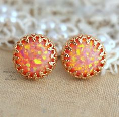 Opal Stud Peach orange coral post earrings bridesmaids by iloniti, $41.00