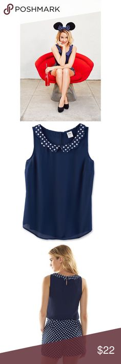 LC Lauren Conrad Polka-Dot Top Disney's Minnie Mouse a Collection by LC Lauren Conrad Polka-Dot Top; Scallop Collar Shell Top; Color: Medieval Blue LC Lauren Conrad Tops Blouses