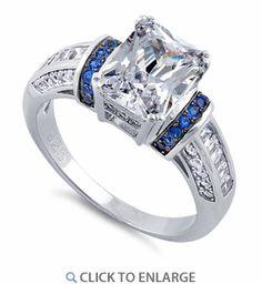 Sterling Silver Clear Emerald Cut Blue CZ Ring