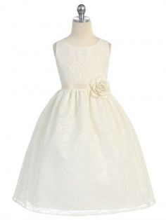 48449389c15 Ivory Lovely Floral Lace Flower Girl Dress (Available in Sizes 2-12 in 13