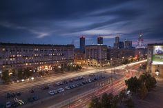 Plac Konstytucji (Constitution Square) at dusk Warsaw Poland, Cityscapes, Constitution, Seattle Skyline, Dusk, Travel, Voyage, Viajes, Traveling