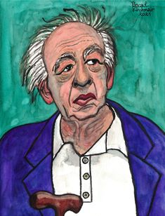 Eugène Ionesco (born Eugen Ionescu; 26 November 1909 in Slatina – 28 March 1994 in Paris) was a Romanian-French playwright who wrote mostly in French, and one of the foremost figures of the French Avant-garde theatre. Beyond ridiculing the most banal situations, Ionesco's plays depict the solitude and insignificance of human existence in a tangible way. (Quoted from Wikipedia.org) ...... Aquarell / Watercolour, 24 x 32 cm ....... ウジェーヌ・イヨネスコ Eugene Ionesco, 26 November, Playwright, Solitude, Plays, Watercolour, Theatre, Portraits, French