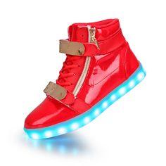 Rot Schuhe Mit LED & Metall Teller Und Zips Herren