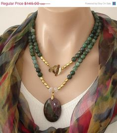 35% OFF YIPPEE: Ashira Moss Green Gemstone Necklace and Hand Selected Purple and Green Agate Pendant with Gold Filled Toggle