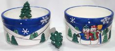 Christmas Snowman 2 Piece Dip Server Holiday Party Nut Bowl Tree Spreader Chips
