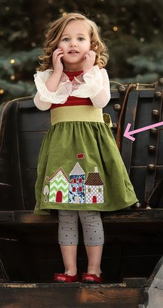 Persnickety Clothing - Ginger Dress - Green House - Holiday - One Good Thread - Adorable Holiday outfit! Little Girl Outfits, Little Girl Fashion, Toddler Fashion, My Little Girl, Boy Fashion, Toddler Dress, Toddler Outfits, Toddler Girl, Kids Outfits