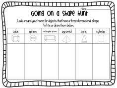 Drawing Ideas Ship Shape First Grade: Shapes Freebie! Shapes Worksheet Kindergarten, 1st Grade Worksheets, Preschool Math, Math Classroom, Fun Math, Teaching Math, Math Activities, 3d Shapes Activities, Kindergarten Math