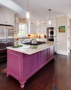 Residential Archives - Phi Home Designs Home Decor Kitchen, New Kitchen, Kitchen Island, Pink Kitchen Cabinets, Cottage Kitchens, Pink Kitchens, Küchen Design, House Design, Bakery Interior