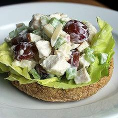 Lighter Ranch Chicken Salad Sandwich ~ I had no Greek Yogurt or chives, substituted mayo, doubled onion powder and left out sugar. Used two cans of kirkland chicken. Added a stalk of chopped celery. Great Flavor! Skipped bread and scooped with celery sticks. Will try again with Greek Yogurt & chives. Skip salt with canned chicken. #chickenrecipes #chicken #recipe #salad