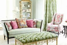 Annie Selke design happy living room pinks and greens