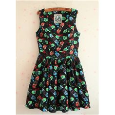 Womens Black Skateboard Print Vest dress