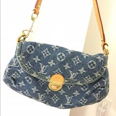 """Authentic Louis Vuitton denim bag In perfect condition. hardly used. 10""""x7"""". I might be able to find tags and dust bag. make an offer. thanks. Louis Vuitton Bags Mini Bags"""