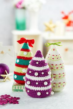 Christmas Trees By Irene Strange - Free Crochet Pattern With Website Registration - See http://www.ravelry.com/patterns/library/christmas-trees-10 For Additional Projects - (letsknit)