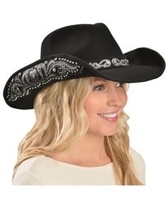 Montana West Decorated Brim Wool Cowgirl Hat