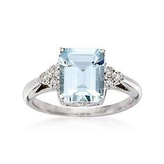 Ross-Simons - 3.00 Carat Aquamarine and .10 ct. t.w. Diamond Ring in 14kt White Gold - #497785