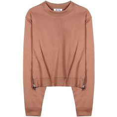 Acne Studios Bird Cotton-Blend Sweatshirt ($215) ❤ liked on Polyvore featuring tops, hoodies, sweatshirts, sweaters, shirts, sweatshirt, pink, acne studios, beige top and pink top
