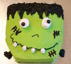 Green Monster Cake- great for birthday or halloween.