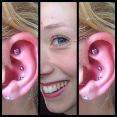 3 amethyst NeoMetal gems sat in 3 different ways in this happy lady's ear