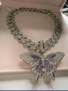 BIG purple Butterfly cuban choker chain necklace , blinged iced cuban butterfly necklace , big butterfly Miami Cuban Necklaces by Lavishluxxshop on Etsy Jewelry Tags, Cute Jewelry, Body Jewelry, Jewelry Accessories, Bullet Jewelry, Geek Jewelry, Jewelry Findings, Fashion Jewelry, Women Jewelry