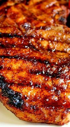 Pin Heart It: Apple Cider Glazed Pork Chops.These Apple Cider Glazed Pork Chops are AMAZING! Perfectly seasoned, juicy, delicious and ready in under 30 minutes. A great dinner any night of the week Pork Chop Recipes, Clean Recipes, Grilling Recipes, Cooking Recipes, Healthy Recipes, Smoker Recipes, Salmon Recipes, Easy Recipes, Cider Pork Chops