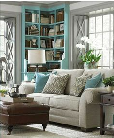 Bassett Furniture has a wide variety of hand-made living room, bedroom, and dining room furniture that works with all styles. Or, design your own with HGTV Design Center Living Room Grey, Home Living Room, Living Room Designs, Living Spaces, Small Living, Modern Living, Living Area, Living Room Turquoise, Muebles Living