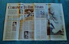 HERALD SUN LIFT-OUT - CORONER TO THE STARS - MARILYN MONROE, WILLIAM HOLDEN, JANIS JOPLIN, ROBERT KENNEDY by pensauctions - $3.00