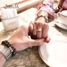 Jeulia Split Shank Round Cut Pink Sapphire Cocktail Ring. Your Show your lovely Style. Blooming your light and witness your love. @monica_giglio #JeuliaJewelry