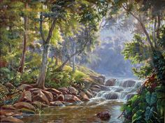 """""""Luz na Mata"""" de Wilson Vicente Nature Paintings, Landscape Paintings, Art Paintings, Country Landscaping, Landscape Pictures, Painting Inspiration, Painting On Wood, Places To Visit, Lakes"""