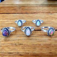 Ethiopian Opal Tear Drop Ring   Bohemian Gypsy Jewelry   Boho Festival Jewellery…