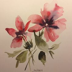 Pink and Purple Flowers Watercolor Painting