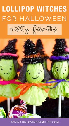 These adorable lollipop witches are fun and simple DIY Halloween party favors and are perfect if you're looking for Halloween classroom party ideas. The kids will love them, and they aren't too difficult to put together. #lollipopwitch #halloweencraft #halloween #halloweenactivities #halloweenideas #halloweenforkids #kidshalloween Classroom Halloween Party, Fun Halloween Treats, Halloween Party Favors, Halloween Crafts For Kids, Halloween Birthday, Crafts For Kids To Make, Halloween Activities, Craft Activities For Kids, Diy Halloween Decorations