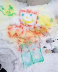 My kids had fun painting the neighbors' lawns.  We used colored water in spray bottles and just let them draw all over the snow.