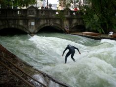 Surfing in the English Garden in Munich.