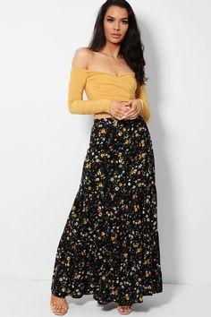 Black Tiny Floral Print Tiered Maxi Skirt – SinglePrice