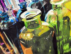 art with prismacolor, glass, color, highlighted