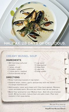 """Prepare this """"Creamy and enjoy a taste of East Coast cuisine made by you. A healthy dose of mussels in a creamy broth make for a simple… - nimivo sites Fish Recipes, Seafood Recipes, Mussel Recipes, Soup Recipes, I Love Food, Good Food, Soup And Salad, Soups And Stews, East Coast"""