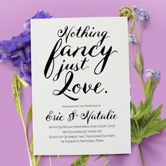 Elopement Announcement Card Nothing Fancy Just by LoveAtEverySight