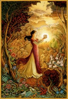 """Laurel Long, illustration for """"The Lady & the Lion"""".  I LOVE the gold and cranberry warmth in this."""