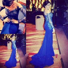 Royal Blue Long Sleeve Mermaid Sexy Formal Party Pageant Evening Dress Prom Gown in Clothing, Shoes & Accessories | eBay