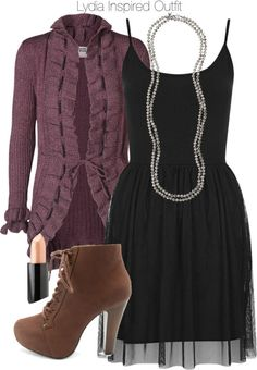 Topshop dress / Vero Moda long sleeve open cardigan, $68 / Charlotte Russe high heel ankle boots / LOFT flapper jewelry / Nyx lipstick