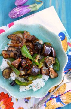 Quick, easy, delicious spicy stir fried eggplant. A tasty plant based meal!