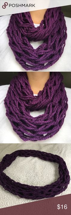"""Deep plum """"Eggplant"""" handmade infinity scarf Beautiful deep plum color infinity scarf. Handmade by me. Externally soft and comfortable. So warm and perfect for the cold season headed in! Accessories Scarves & Wraps"""