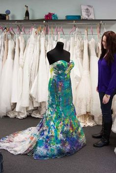Swink's dress is also being displayed in a local bridal shop in Memphis through the beginning of January. A portion of the proceeds from each dress bought while it's on display are going to a local nonprofit called Be Free Revolution.